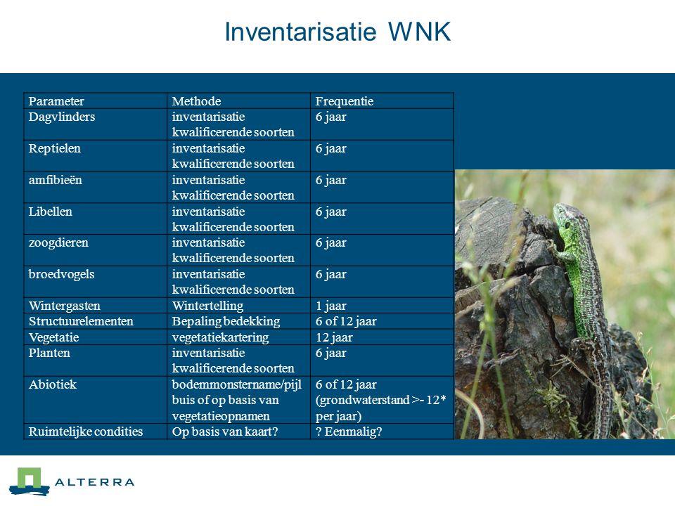 Inventarisatie WNK ParameterMethodeFrequentie Dagvlindersinventarisatie kwalificerende soorten 6 jaar Reptieleninventarisatie kwalificerende soorten 6