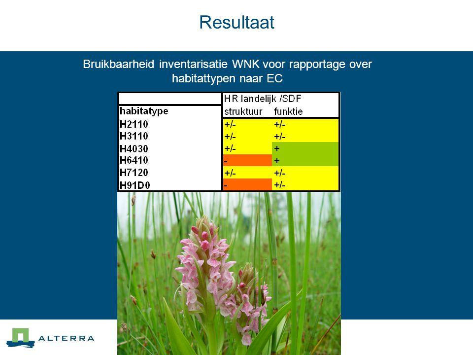 Bruikbaarheid inventarisatie WNK voor rapportage over habitattypen naar EC