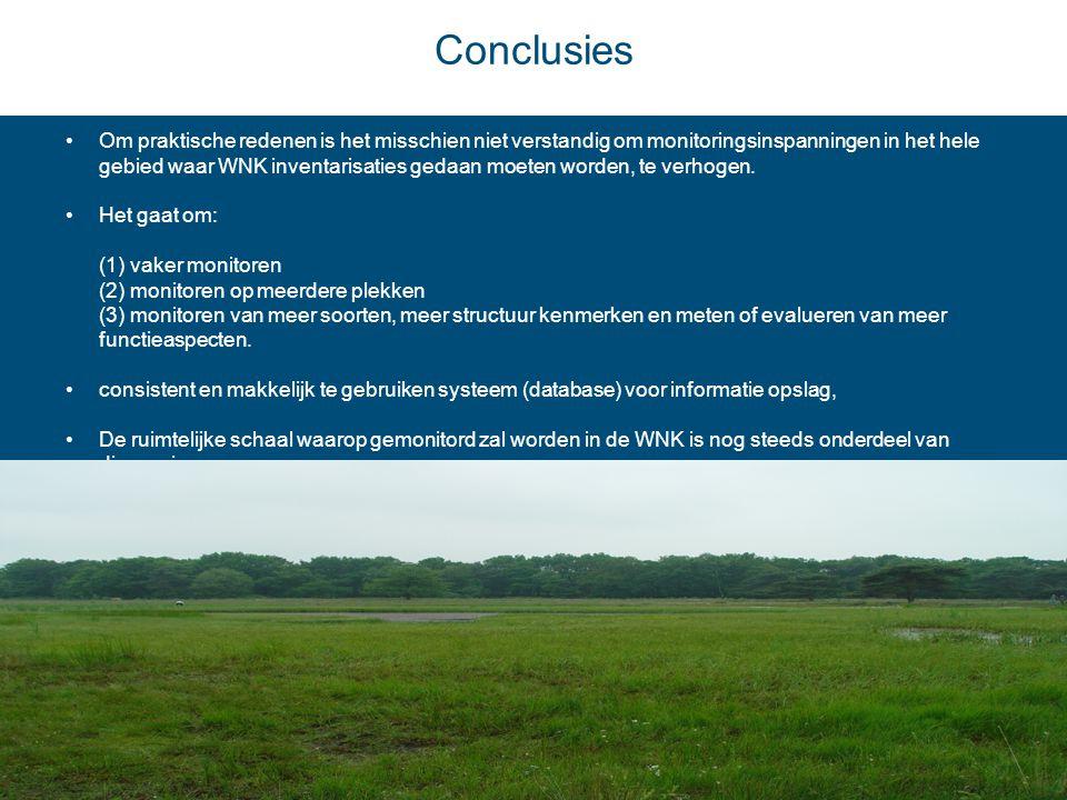 Conclusies •Om praktische redenen is het misschien niet verstandig om monitoringsinspanningen in het hele gebied waar WNK inventarisaties gedaan moete