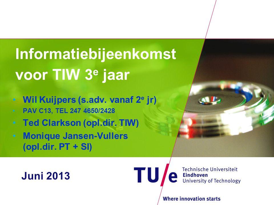 Informatiebijeenkomst voor TIW 3 e jaar •Wil Kuijpers (s.adv. vanaf 2 e jr) •PAV C13, TEL 247 4650/2428 •Ted Clarkson (opl.dir. TIW) •Monique Jansen-V