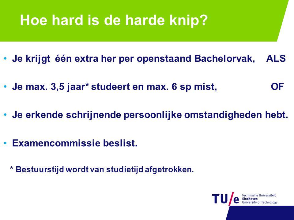Hoe hard is de harde knip? •Je krijgt één extra her per openstaand Bachelorvak, ALS •Je max. 3,5 jaar* studeert en max. 6 sp mist, OF •Je erkende schr