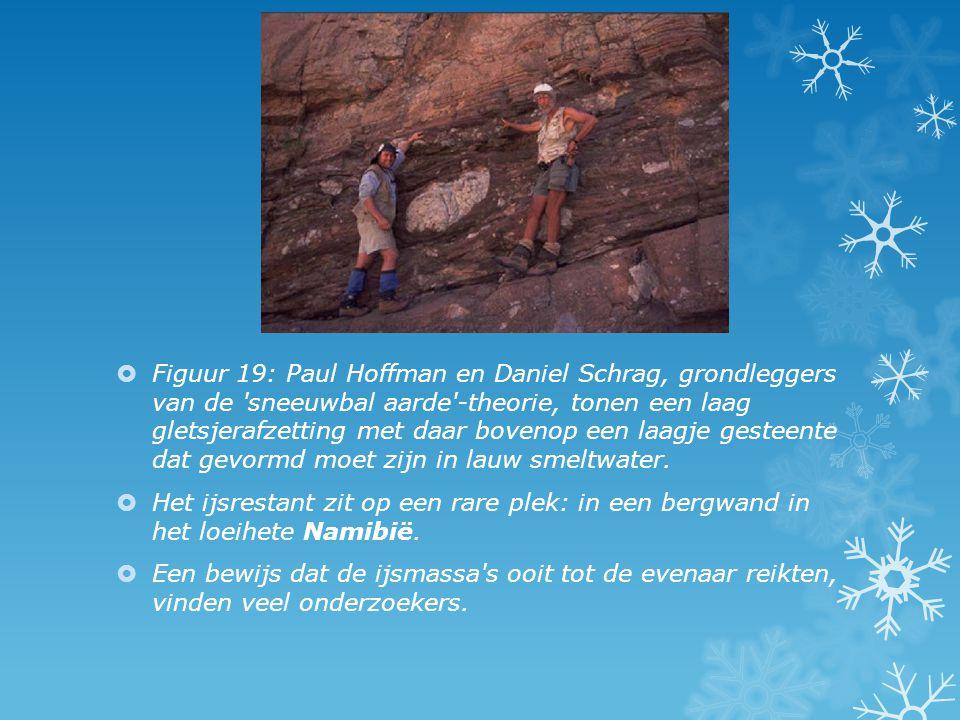  Figuur 19: Paul Hoffman en Daniel Schrag, grondleggers van de 'sneeuwbal aarde'-theorie, tonen een laag gletsjerafzetting met daar bovenop een laagj