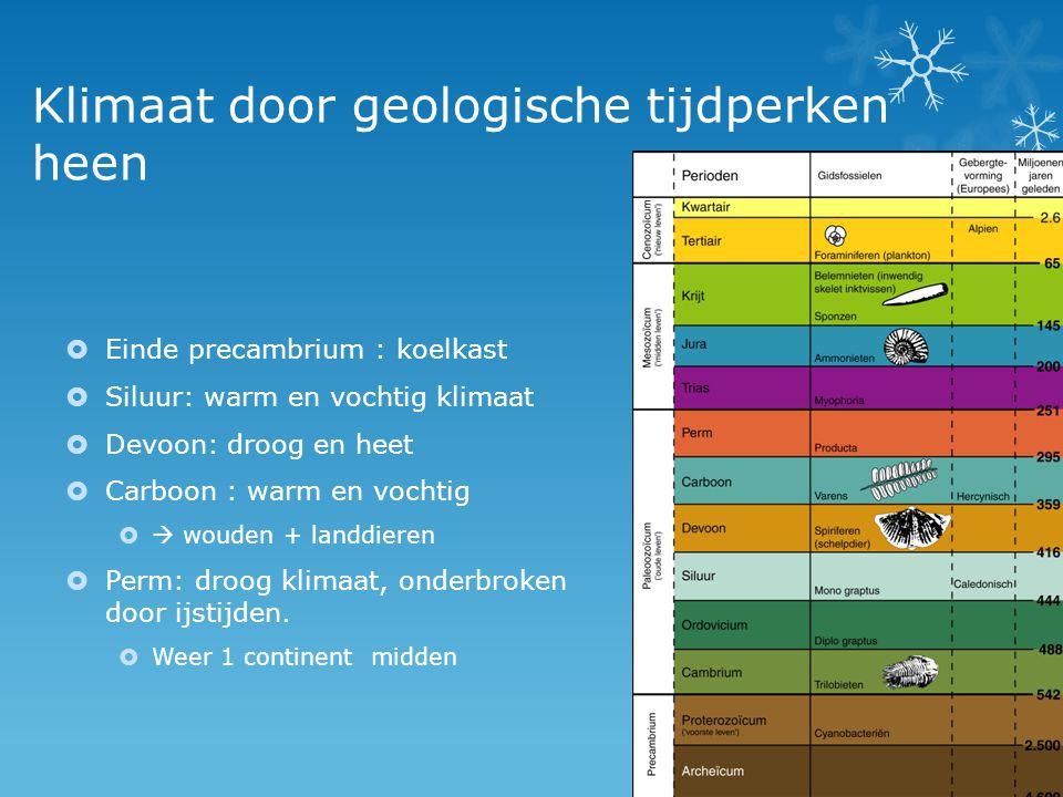 Klimaat door geologische tijdperken heen  Einde precambrium : koelkast  Siluur: warm en vochtig klimaat  Devoon: droog en heet  Carboon : warm en