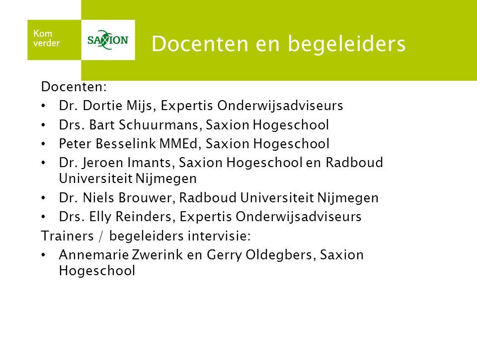 Docenten en begeleiders Docenten: • Dr. Dortie Mijs, Expertis Onderwijsadviseurs • Drs. Bart Schuurmans, Saxion Hogeschool • Peter Besselink MMEd, Sax