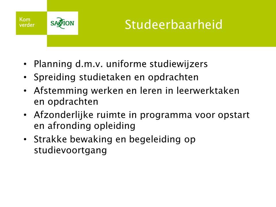 Studeerbaarheid • Planning d.m.v. uniforme studiewijzers • Spreiding studietaken en opdrachten • Afstemming werken en leren in leerwerktaken en opdrac