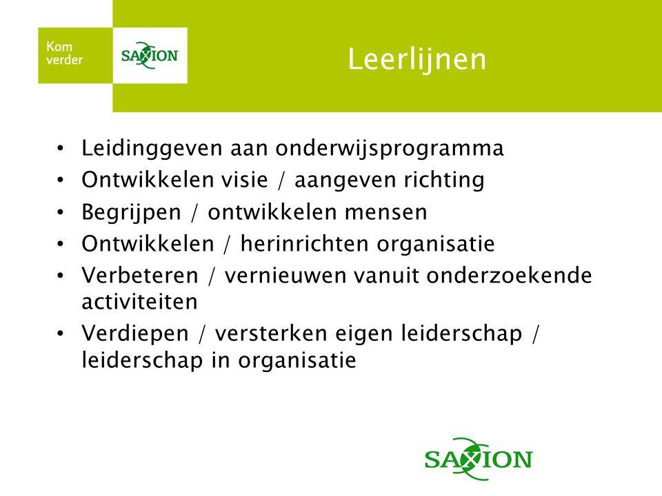 Leerlijnen • Leidinggeven aan onderwijsprogramma • Ontwikkelen visie / aangeven richting • Begrijpen / ontwikkelen mensen • Ontwikkelen / herinrichten