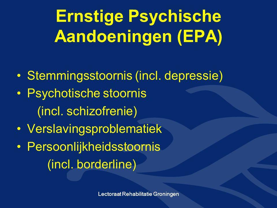Overige kenmerken •Beperkingen in functioneren GAF- scores (Global Assessment of Functioning) •Duur van de problematiek Lectoraat Rehabilitatie Groningen