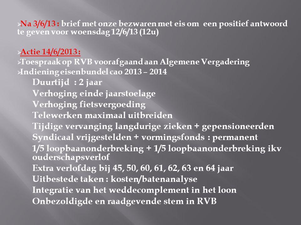  Na 3/6/13 : brief met onze bezwaren met eis om een positief antwoord te geven voor woensdag 12/6/13 (12u)  Actie 14/6/2013 :  Toespraak op RVB voorafgaand aan Algemene Vergadering  Indiening eisenbundel cao 2013 – 2014 Duurtijd : 2 jaar Verhoging einde jaarstoelage Verhoging fietsvergoeding Telewerken maximaal uitbreiden Tijdige vervanging langdurige zieken + gepensioneerden Syndicaal vrijgestelden + vormingsfonds : permanent 1/5 loopbaanonderbreking + 1/5 loopbaanonderbreking ikv ouderschapsverlof Extra verlofdag bij 45, 50, 60, 61, 62, 63 en 64 jaar Uitbestede taken : kosten/batenanalyse Integratie van het weddecomplement in het loon Onbezoldigde en raadgevende stem in RVB
