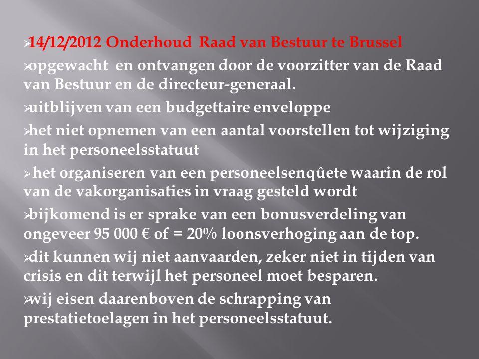  14/12/2012 Onderhoud Raad van Bestuur te Brussel  opgewacht en ontvangen door de voorzitter van de Raad van Bestuur en de directeur-generaal.