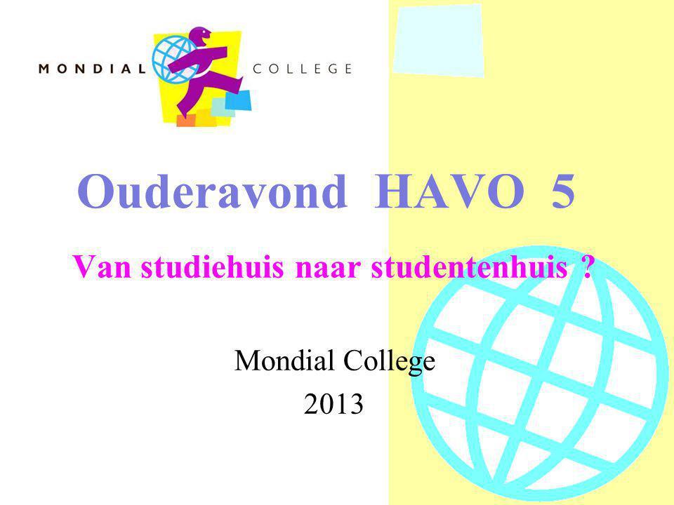 Ouderavond HAVO 5 Van studiehuis naar studentenhuis Mondial College 2013