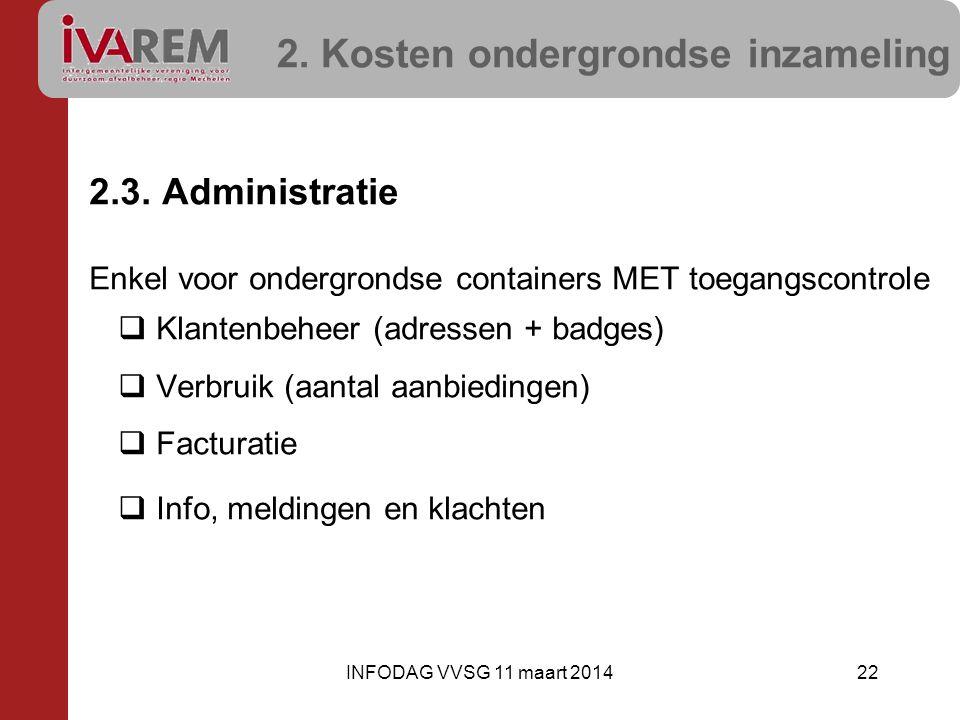 2. Kosten ondergrondse inzameling 2.3. Administratie Enkel voor ondergrondse containers MET toegangscontrole  Klantenbeheer (adressen + badges)  Ver