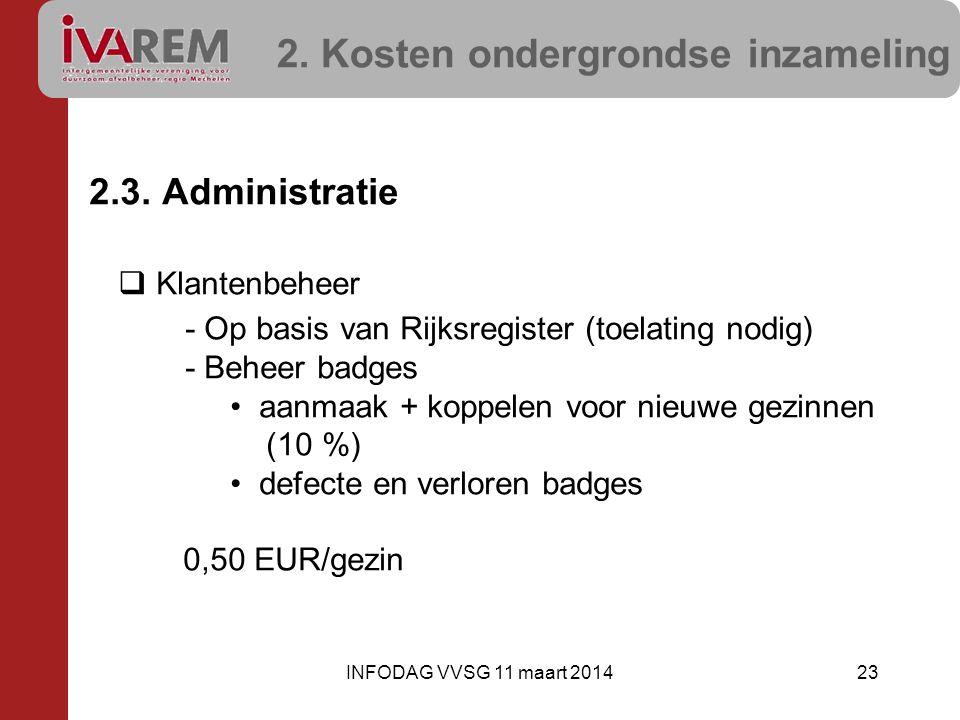 2. Kosten ondergrondse inzameling 2.3. Administratie  Klantenbeheer - Op basis van Rijksregister (toelating nodig) - Beheer badges •aanmaak + koppele