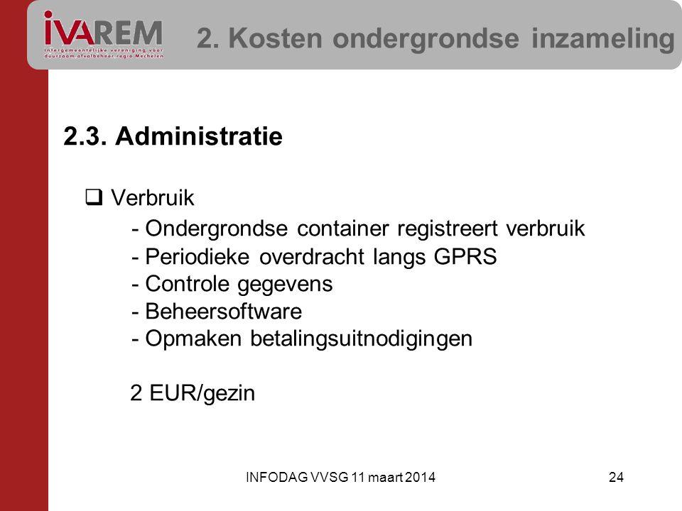 2. Kosten ondergrondse inzameling 2.3. Administratie  Verbruik - Ondergrondse container registreert verbruik - Periodieke overdracht langs GPRS - Con