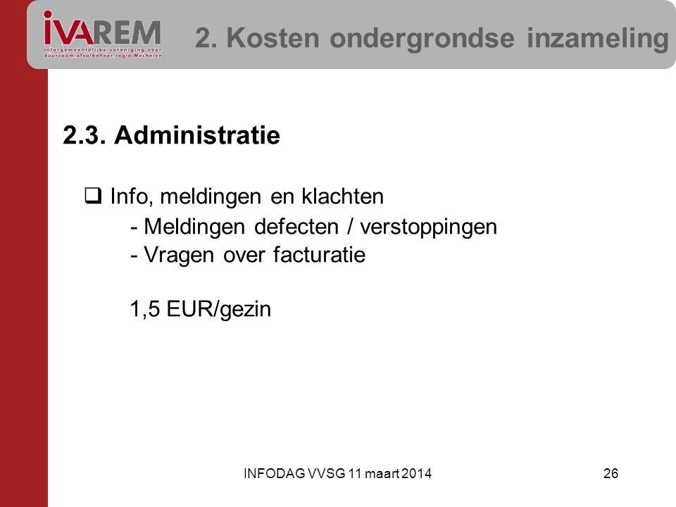2. Kosten ondergrondse inzameling 2.3. Administratie  Info, meldingen en klachten - Meldingen defecten / verstoppingen - Vragen over facturatie 1,5 E