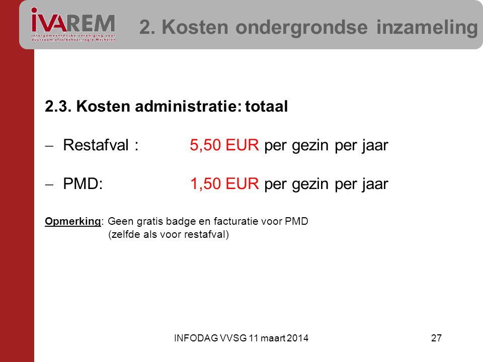2. Kosten ondergrondse inzameling 2.3. Kosten administratie: totaal  Restafval :5,50 EUR per gezin per jaar  PMD:1,50 EUR per gezin per jaar Opmerki