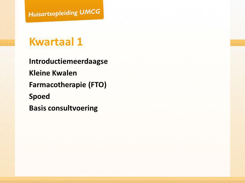 Kwartaal 2 Dermatologie Kleine orthopedie Vaardigheden (summerschool) Maken van een CAT Basisconsultvoering, simulatiepatient, toets