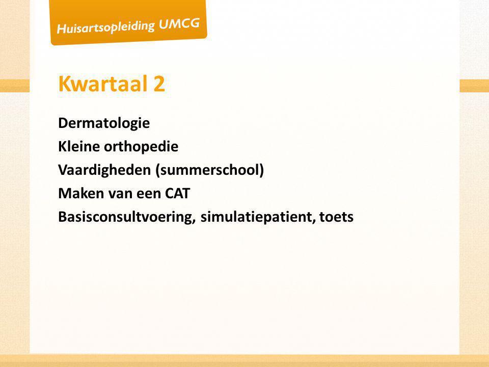 Kwartaal 3 Diabetes Gynaecologie Hart vaatdagen Lijkschouw Lastige consulten (boosheid, claimen) Zelfstandige periode