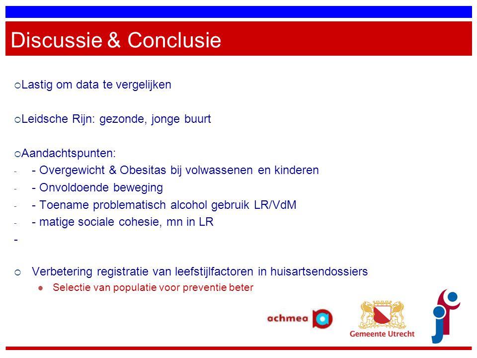 Discussie & Conclusie  Lastig om data te vergelijken  Leidsche Rijn: gezonde, jonge buurt  Aandachtspunten: - - Overgewicht & Obesitas bij volwasse