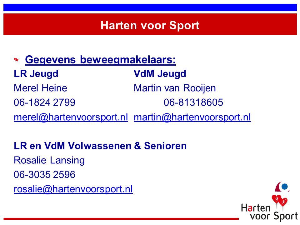 Harten voor Sport Gegevens beweegmakelaars: LR JeugdVdM Jeugd Merel HeineMartin van Rooijen 06-1824 279906-81318605 merel@hartenvoorsport.nlmerel@hart