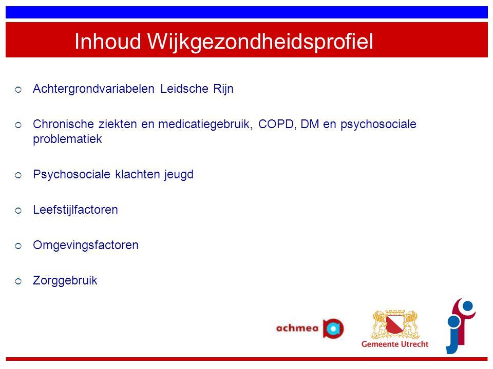 Inhoud Wijkgezondheidsprofiel  Achtergrondvariabelen Leidsche Rijn  Chronische ziekten en medicatiegebruik, COPD, DM en psychosociale problematiek 