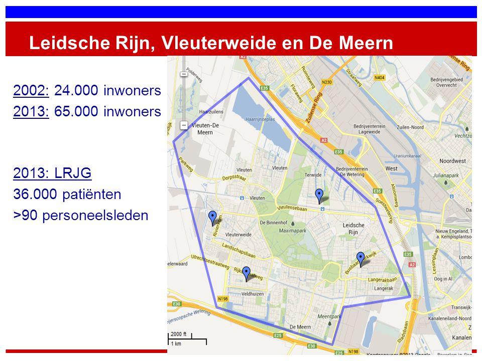 Leidsche Rijn, Vleuterweide en De Meern 2002: 24.000 inwoners 2013: 65.000 inwoners 2013: LRJG 36.000 patiënten >90 personeelsleden