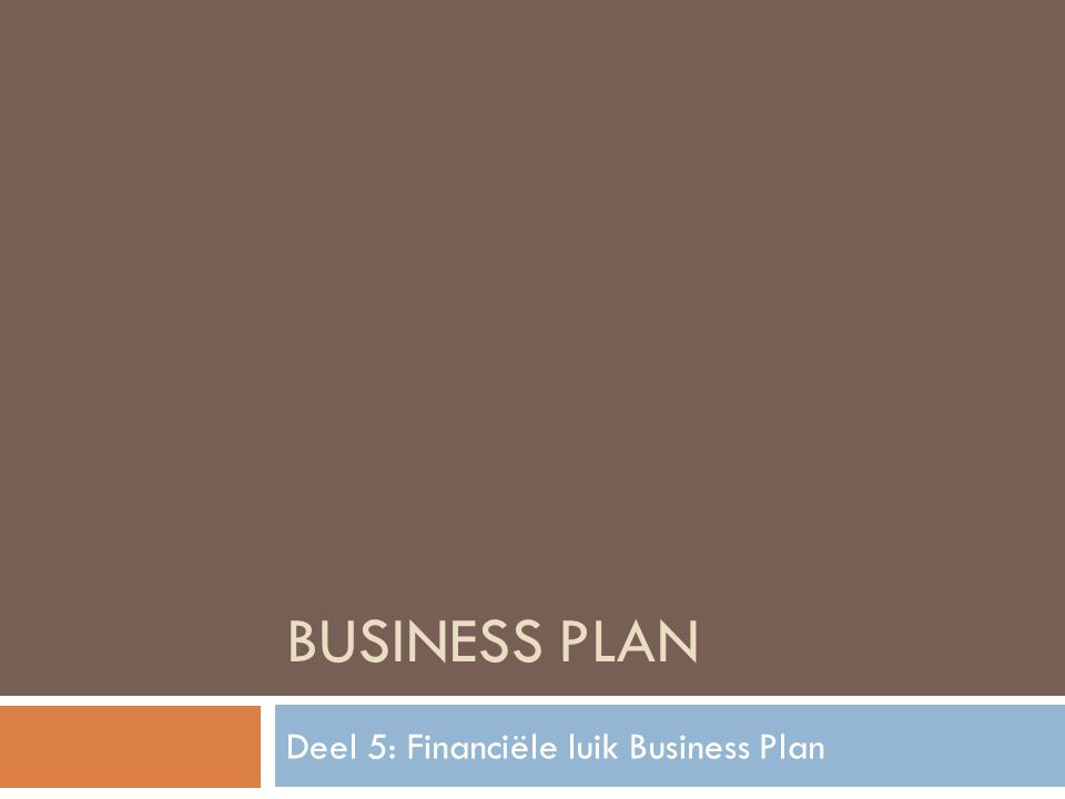 BUSINESS PLAN Deel 5: Financiële luik Business Plan