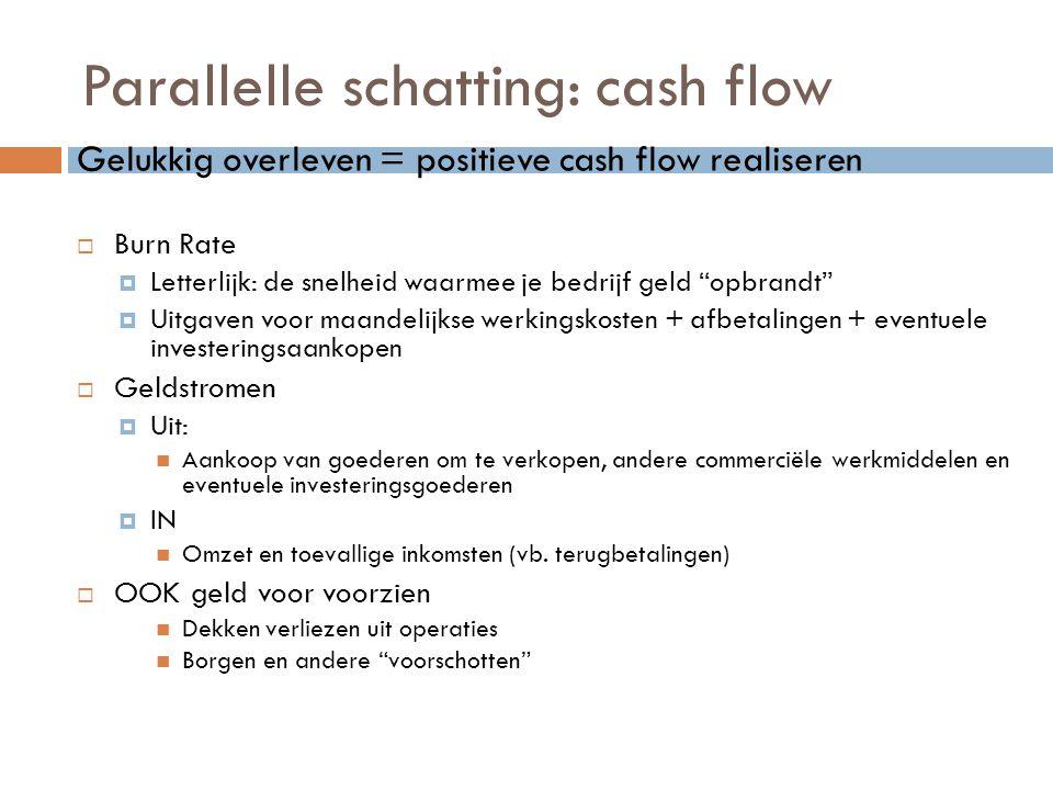 """Parallelle schatting: cash flow Gelukkig overleven = positieve cash flow realiseren  Burn Rate  Letterlijk: de snelheid waarmee je bedrijf geld """"opb"""