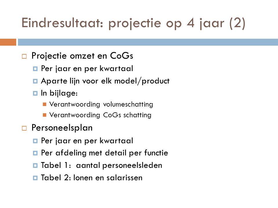 Eindresultaat: projectie op 4 jaar (2)  Projectie omzet en CoGs  Per jaar en per kwartaal  Aparte lijn voor elk model/product  In bijlage:  Veran