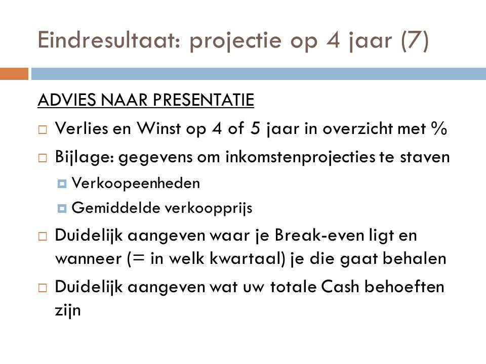 Eindresultaat: projectie op 4 jaar (7) ADVIES NAAR PRESENTATIE  Verlies en Winst op 4 of 5 jaar in overzicht met %  Bijlage: gegevens om inkomstenpr