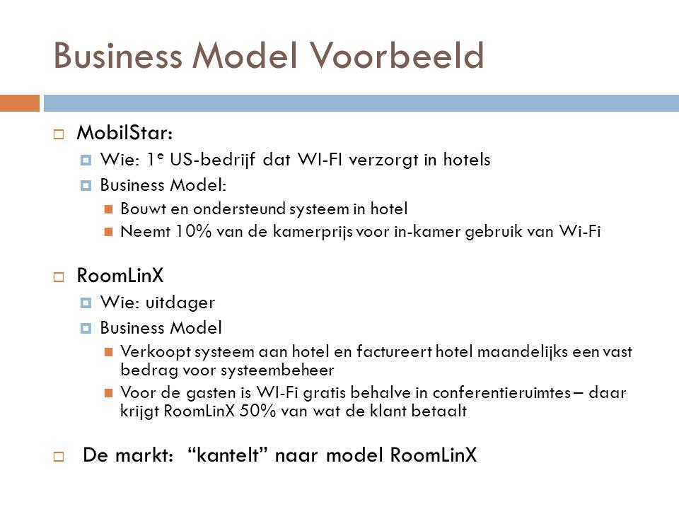 Business Model Voorbeeld  MobilStar:  Wie: 1 e US-bedrijf dat WI-FI verzorgt in hotels  Business Model:  Bouwt en ondersteund systeem in hotel  N