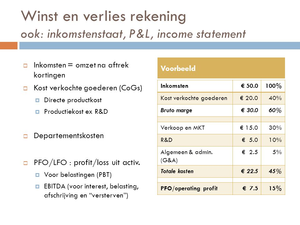 Winst en verlies rekening ook: inkomstenstaat, P&L, income statement  Inkomsten = omzet na aftrek kortingen  Kost verkochte goederen (CoGs)  Direct
