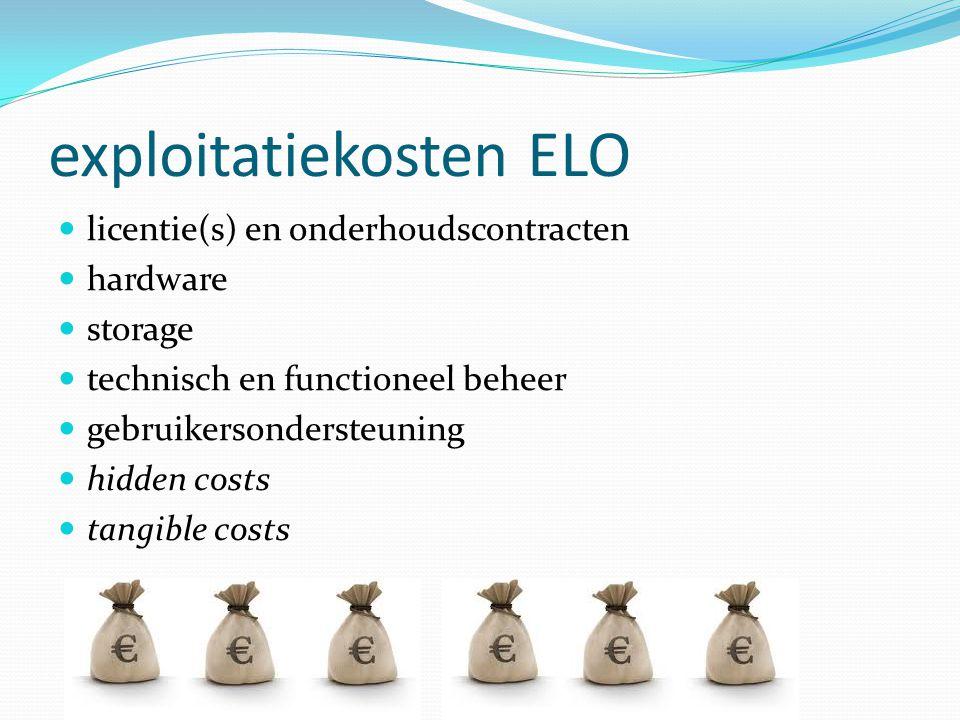 exploitatiekosten ELO  licentie(s) en onderhoudscontracten  hardware  storage  technisch en functioneel beheer  gebruikersondersteuning  hidden costs  tangible costs