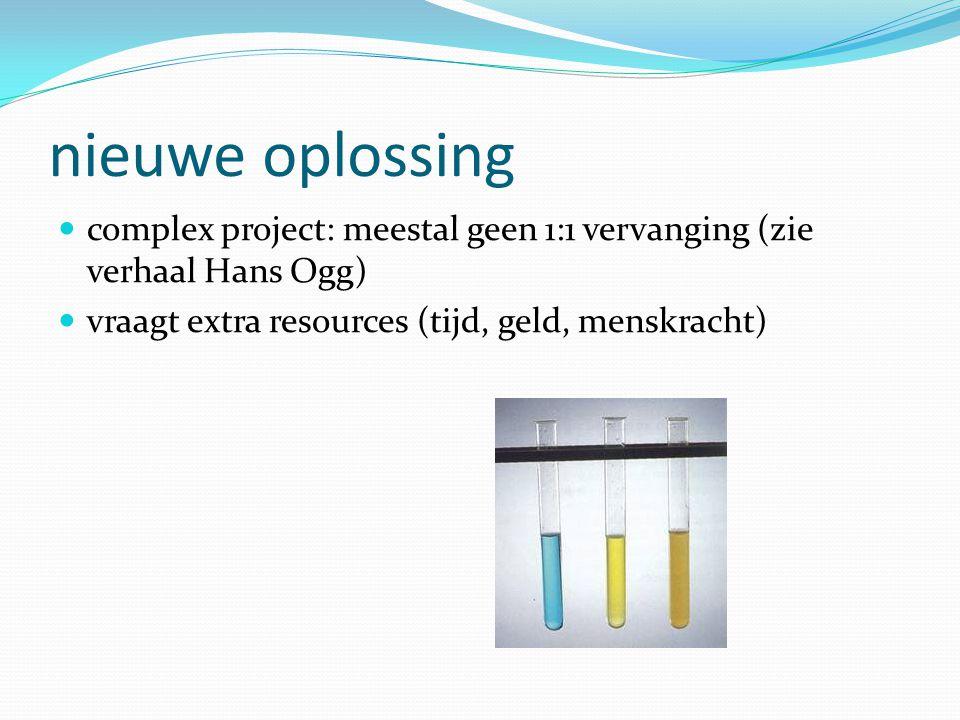nieuwe oplossing  complex project: meestal geen 1:1 vervanging (zie verhaal Hans Ogg)  vraagt extra resources (tijd, geld, menskracht)