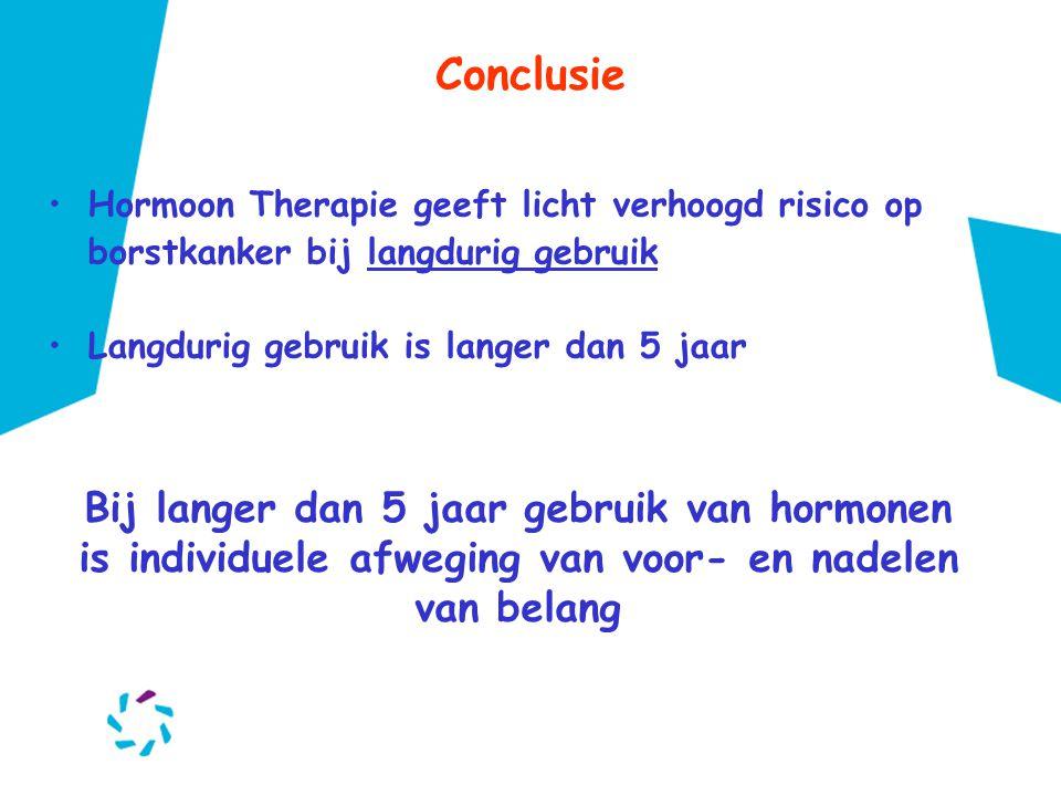 Conclusie •Hormoon Therapie geeft licht verhoogd risico op borstkanker bij langdurig gebruik •Langdurig gebruik is langer dan 5 jaar Bij langer dan 5