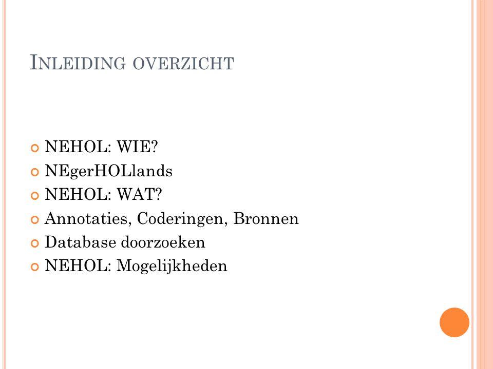 I NLEIDING OVERZICHT NEHOL: WIE. NEgerHOLlands NEHOL: WAT.