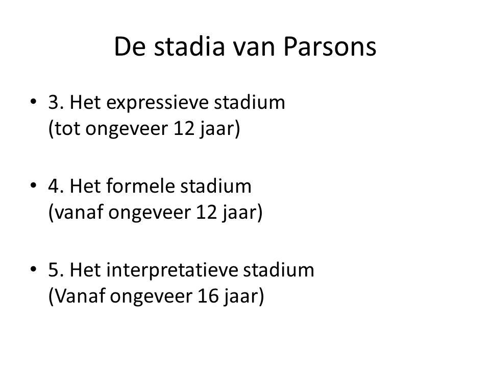 De stadia van Parsons • 3.Het expressieve stadium (tot ongeveer 12 jaar) • 4.