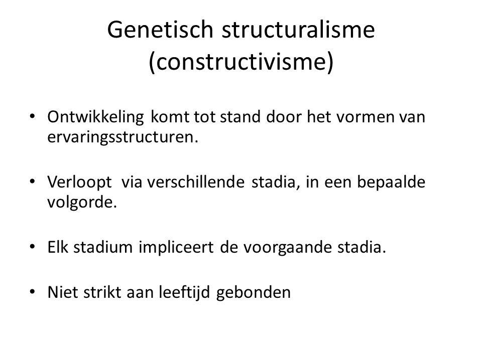 Genetisch structuralisme (constructivisme) • Ontwikkeling komt tot stand door het vormen van ervaringsstructuren.