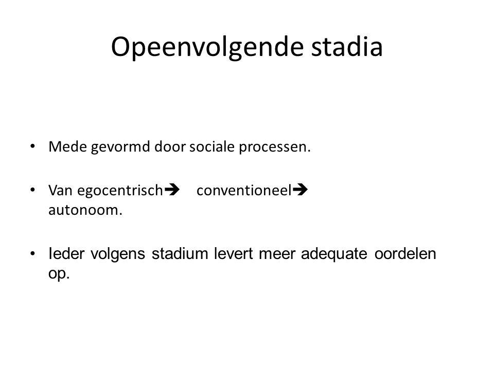 Opeenvolgende stadia • Mede gevormd door sociale processen.