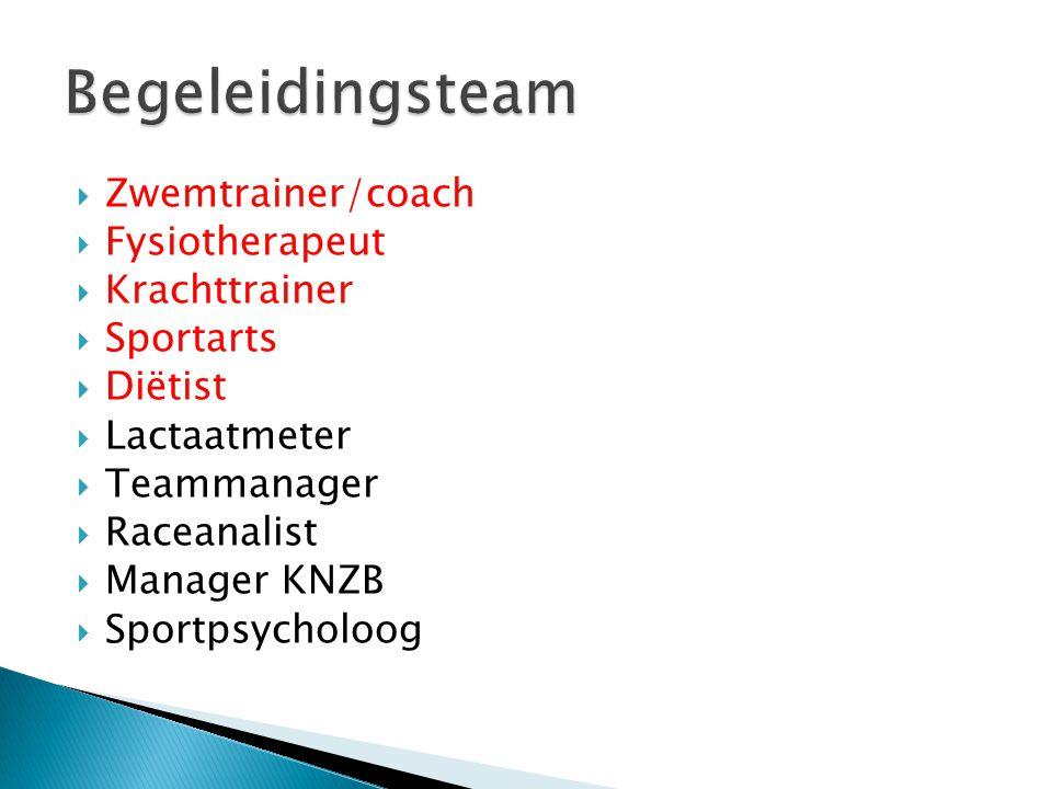  Zwemtrainer/coach  Fysiotherapeut  Krachttrainer  Sportarts  Diëtist  Lactaatmeter  Teammanager  Raceanalist  Manager KNZB  Sportpsycholoog