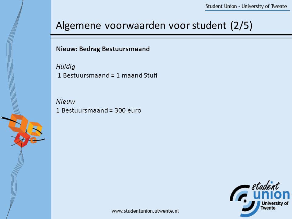 Algemene voorwaarden voor student (3/5) Nieuw: Periode van recht op bestuursmaanden.