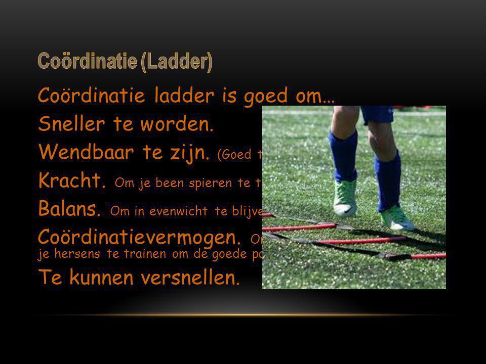 Coördinatie ladder is goed om… Sneller te worden. Wendbaar te zijn. (Goed te kunnen keren\draaien) Kracht. Om je been spieren te trainen Balans. Om in