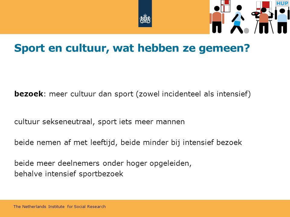 The Netherlands Institute for Social Research Sport en cultuur, wat hebben ze gemeen? bezoek: meer cultuur dan sport (zowel incidenteel als intensief)