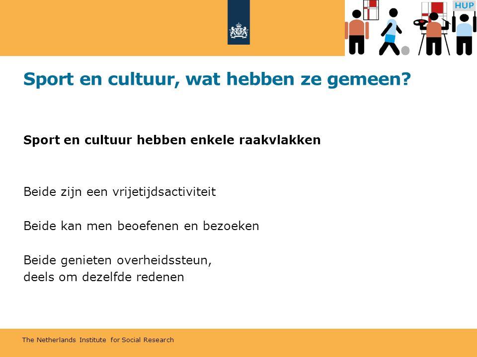 The Netherlands Institute for Social Research Sport en cultuur, wat hebben ze gemeen? Sport en cultuur hebben enkele raakvlakken Beide zijn een vrijet