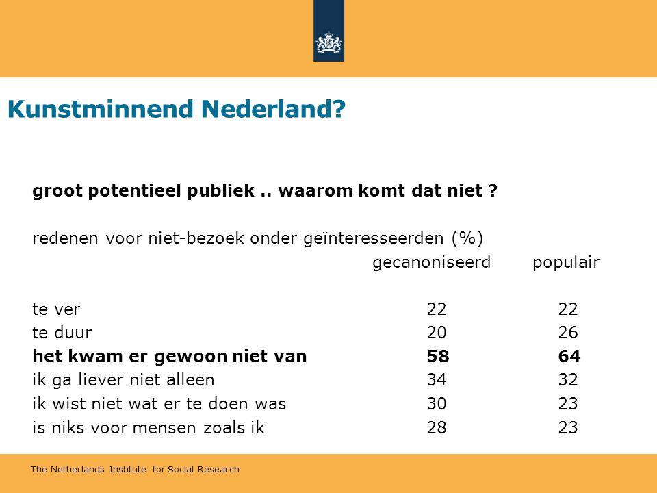 The Netherlands Institute for Social Research Kunstminnend Nederland? groot potentieel publiek.. waarom komt dat niet ? redenen voor niet-bezoek onder