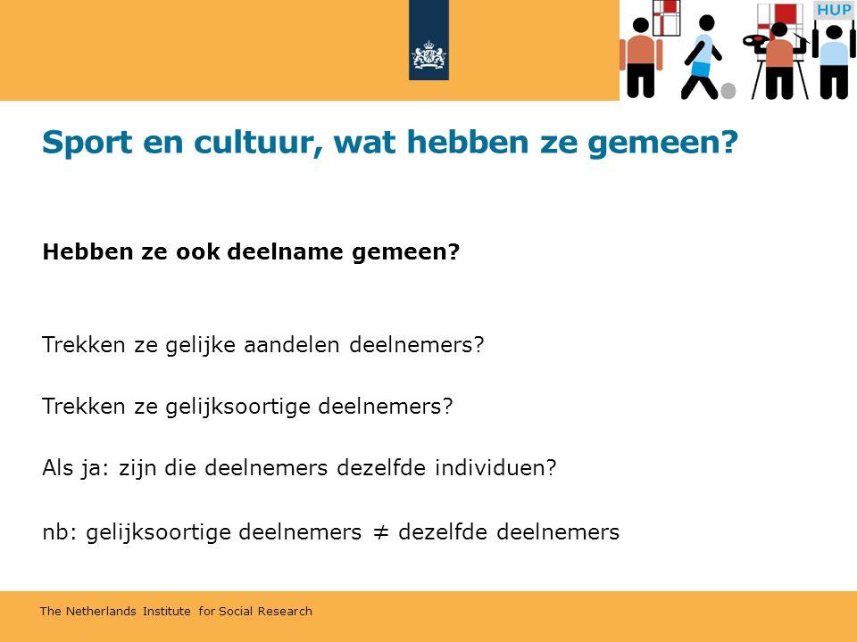 The Netherlands Institute for Social Research Sport en cultuur, wat hebben ze gemeen? Hebben ze ook deelname gemeen? Trekken ze gelijke aandelen deeln