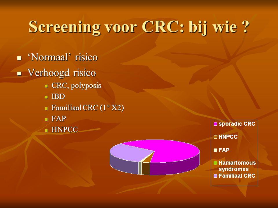 Screening voor CRC: bij wie ?  'Normaal' risico  Verhoogd risico  CRC, polyposis  IBD  Familiaal CRC (1° X2)  FAP  HNPCC