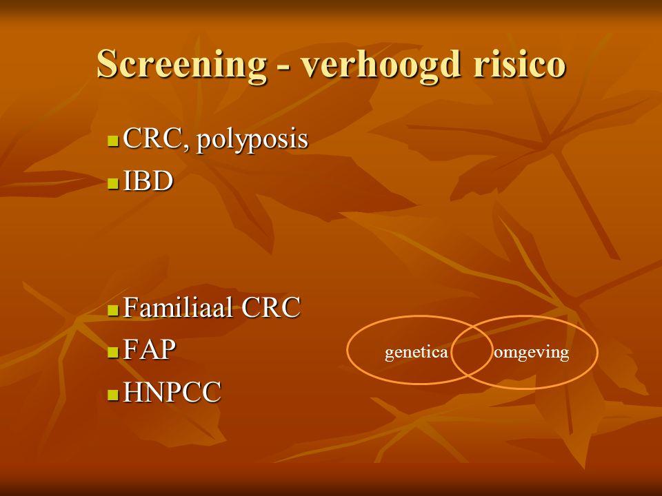 Screening - verhoogd risico  CRC, polyposis  IBD  Familiaal CRC  FAP  HNPCC geneticaomgeving