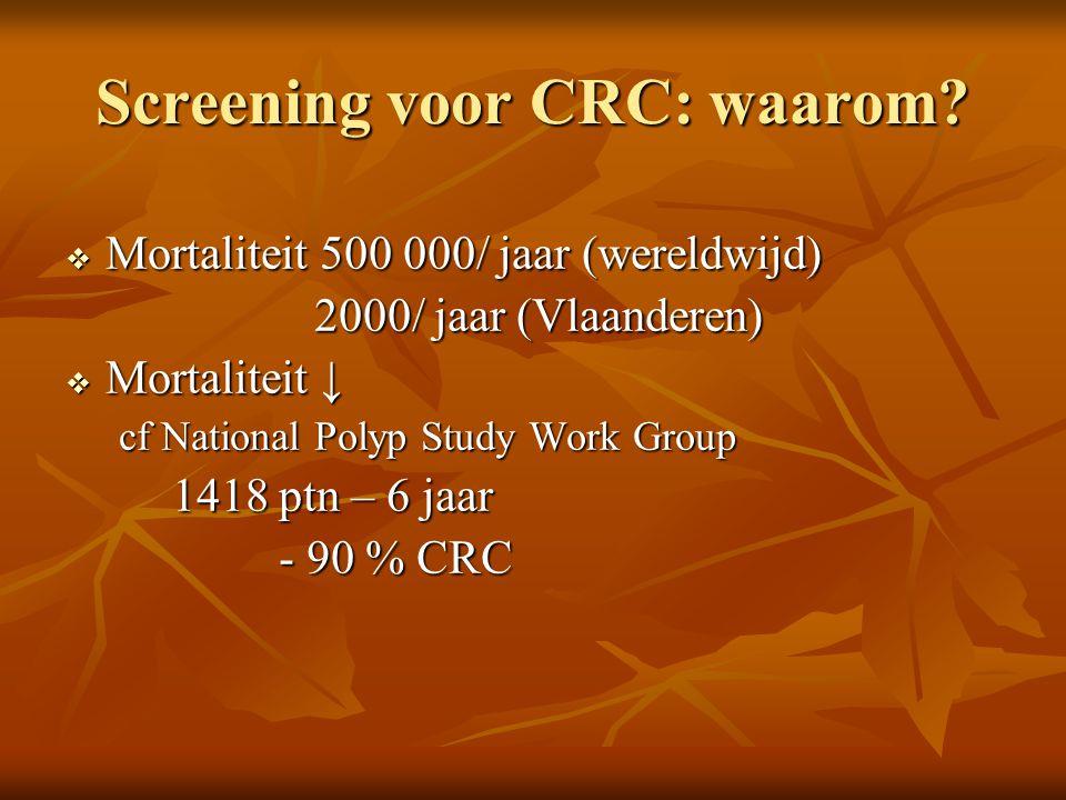Screening voor CRC: waarom?  Mortaliteit 500 000/ jaar (wereldwijd) 2000/ jaar (Vlaanderen) 2000/ jaar (Vlaanderen)  Mortaliteit ↓ cf National Polyp