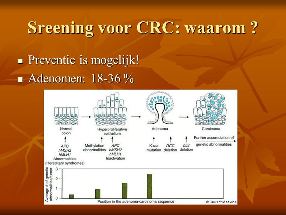 Sreening voor CRC: waarom ?  Preventie is mogelijk!  Adenomen: 18-36 %