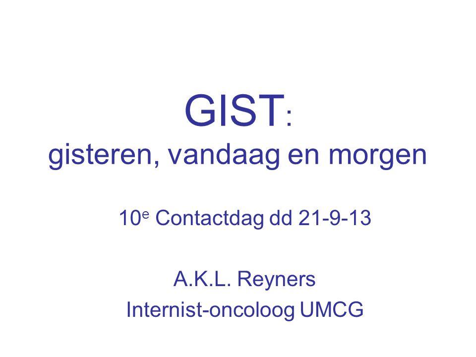 GIST : gisteren, vandaag en morgen 10 e Contactdag dd 21-9-13 A.K.L. Reyners Internist-oncoloog UMCG